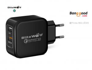 BlitzWolf® BW-S6 QC3.0+2.4A 30W Dual USB Charger EU