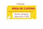 Cupões de 5$ no Aliexpress